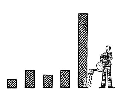 Freehand drawing of business man watering a tall bar in a growth chart with a watering can. Metaphor for financial growth accelerator, nurturing economic growth, income increase, investment, profit.