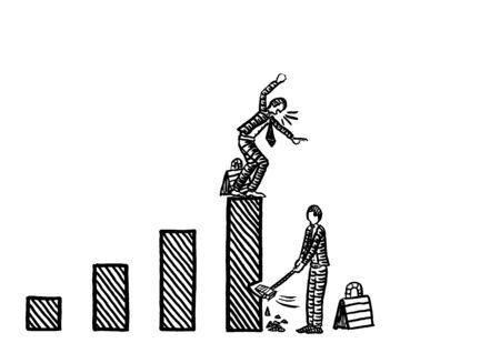 Freehand drawing of business man beginning to chop down the tallest bar of a growth chart, while man atop is complaining. Metaphor for axing investment, cutting income, rivalry, competition, envy.