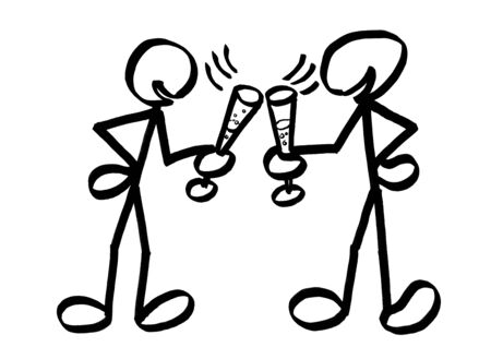 Drawing of two cheerful stick figures chinking sparkling wine glasses. Metaphor for gleeful party mood, celebration, New Year's Eve, festive event, reception, warm welcome, festivity, function.