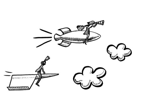 Freehand drawing of business woman on rocket ship looking ahead through telescope is overtaking male competitor flying a paper airplane. Metaphor for battle of the sexes, gender, emancipation.