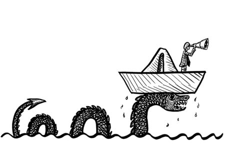 Freehand drawing of business man in paper boat looking through telescope while sea monster is lifting up his vessel out of the water. Metaphor for entrepreneurship, direction, steadfastness, vision.