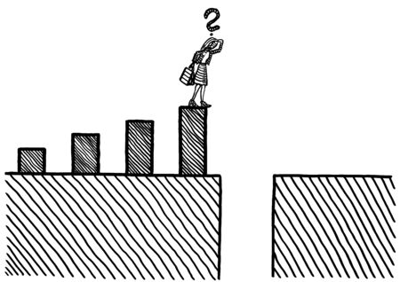 Freehand drawing of business woman at hight of growth in bar chart pondering bottomless financial crash. Metaphor for career challenge, financial crisis, economic crash, planning, forecasting.