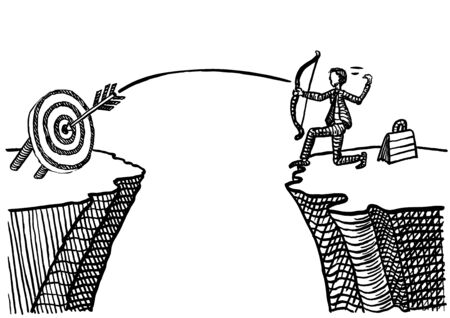 Freehand drawing of business man hitting bull's eye with a single shot across a ravine. Metaphor for precision targeting, marketing efficiency, career success, perfection, accuracy, entrepreneurship. Banco de Imagens