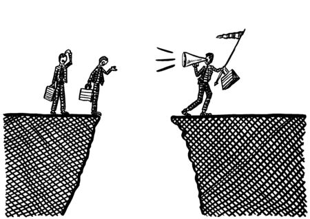 Freehand drawing of business team leader with flag in hand calling upon coworkers via megaphone to encourage them to take a leap across a ravine. Metaphor for leadership by example, doubt, dispute. Banco de Imagens