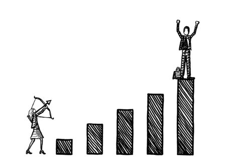 Freehand drawing of business woman taking aim with bow and arrow at winning male rival atop a growth bar graph. Metaphor for career rivalry, envy, gender clash, battle of sexes, grudge, malevolence. Banco de Imagens
