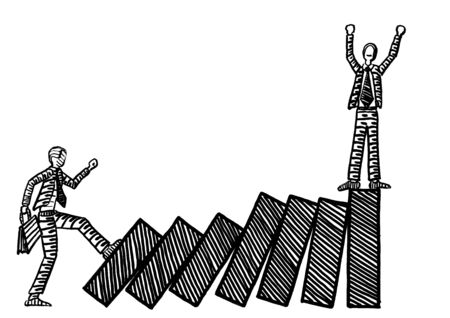 Freehand drawing of business man pushing chart bars into a collapsing domino effect to topple winning male rival. Metaphor for rivalry, competition, financial collapse, crisis, takeover, hostile.