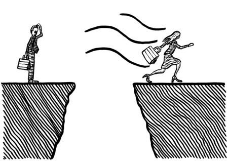Freehand drawing of business woman continuing race after landing safely on other side of a ravine, while businessman is looking on bewildered. Metaphor for emancipation, leadership, entrepreneurship.