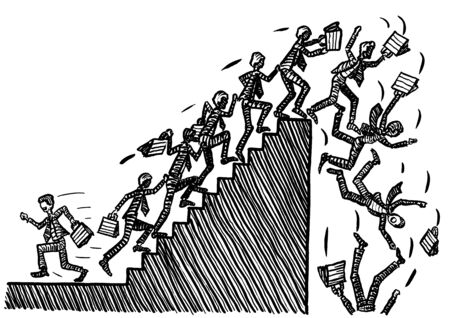 Freehand drawing of one business man striving against the stream, while all others storm the stairway into the next economic crash. Metaphor for recession, going against the tide, bucking the trend.