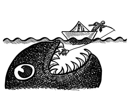Freehand drawing of businessman in paper boat pulling a small fish on his fishing line, unaware of a giant sea monster just about to gobble up his catch and ship. Metaphor for entrepreneurial risk. Banco de Imagens