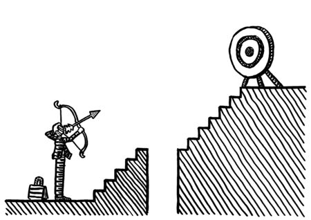 Freehand drawing of business executive aiming bow and arrow at round target on top of staircase across abyss. Metaphor for entrepreneurship, aim, aspiration, precision, risk, conquering adversity.