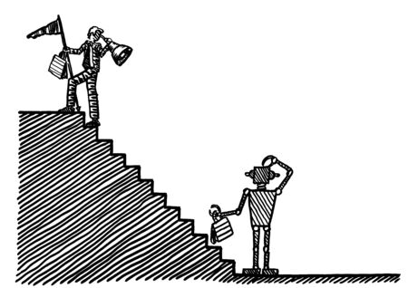 Drawing of business leader atop stairs looking through telescope and in hindsight back to puzzled robot at bottom of staircase. Metaphor for robotics, automation, industry, entrepreneurship, HCI. Banco de Imagens