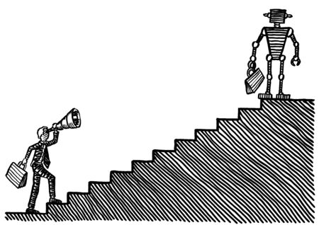Drawing of businessman at bottom of staircase looking through telescope at robot atop stairs. Metaphor for industrial vision, automation, robotic evolution, man versus machine, entrepreneurship.