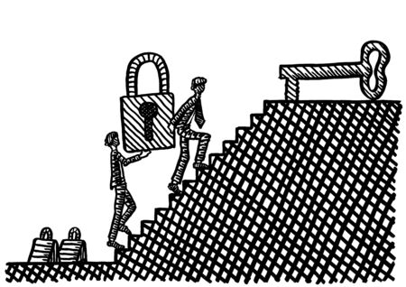 Freehand drawing of two business men carrying a huge locked padlock to a large key atop stairs, like taking the problem to the solution. Metaphor for teamwork, entrepreneurship, team spirit.
