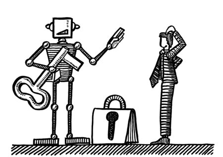 Freehand drawing of puzzled business manager facing humanoid robot denying him large key to access a locked portfolio. Metaphor for access control, privacy management, data security, privilege, HCI. Banco de Imagens