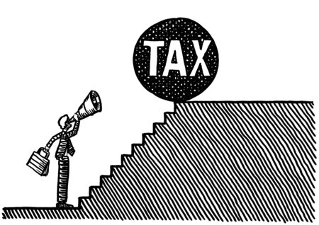Freehand drawing of business man at bottom of steps looking through telescope at huge TAX sphere at brink of top of staircase. Metaphor for corporate taxation, foresight, forecasting, planning.