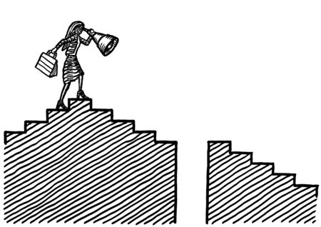 Freehand drawing of business woman looking through telescope at pitfall ahead in staircase. Metaphor for leadership, vision, career success, caution, prudence, emancipation, talent, way forward.