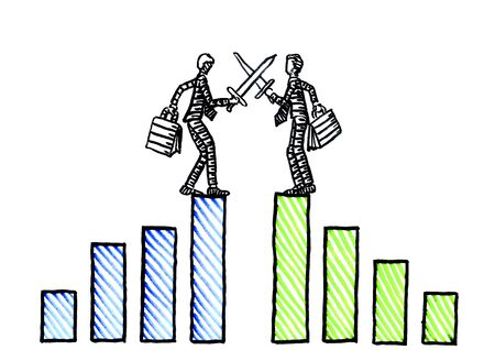 Freehand drawing of two business men at hight of their financial success fighting each other with swords. Metaphor for economic rivalry, corporate competition, hostility, confrontation, arguing.