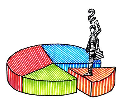 Freehand drawing of businessman standing on top of the smallest market share wedge of a pie chart with four colored sectors. Metaphor for strategy, success, entrepreneurship, marketing, planning.