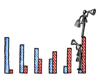 Freehand drawing of one business man standing on highest point of his growth chart looking ahead through telescope, while his competitor at end of negative growth trend is observing with hindsight.