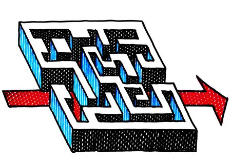 Freehand ink drawing of red arrow finding its way through a 3D labyrinth. Business metaphor for way out, way forward, right solution, decision, strategy, puzzle, riddle, direction, achievement. Фото со стока - 139776601