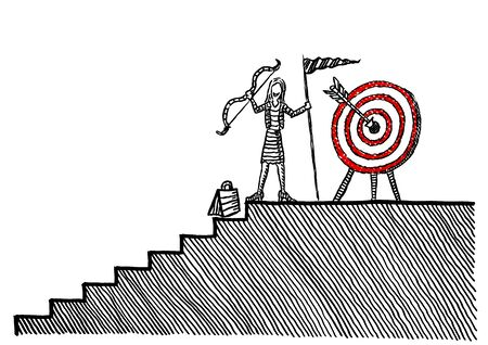 Freehand ink drawing of business woman raising bow atop stairs after successfully hitting bull's eye in target. Metaphor for career success, precision marketing, reaching goal, leadership, leader.