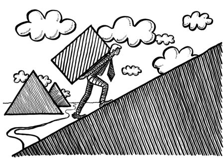 Freehand ink drawing of white collar worker carrying a heavy stone building block up a slope with Egyptian pyramids in the background. Metaphor for modern day Sisyphus task, entrepreneurship, growth.