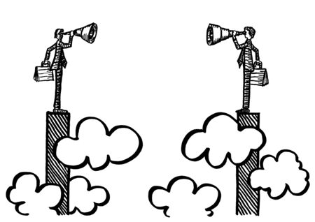 Freehand drawing of two business men atop peaks in bar chart above the clouds staring at each other through telescope. Metaphor for competition, rivalry, success, career, partnership, merger plan.