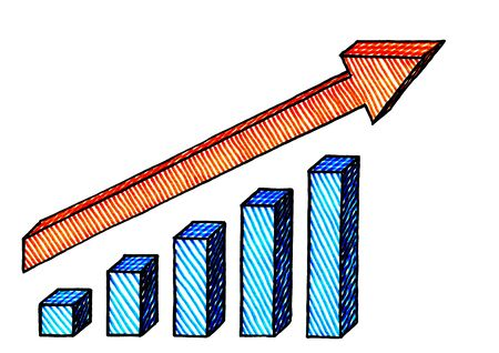Freehand ink pen drawing of isometric bar chart with positive growth trend arrow. Business metaphor and graphic resource for accounting, financial planning, forecasting, trending. No person. Nobody.