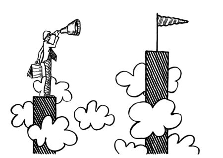 Freehand ink pen drawing of businessman with hand held telescope atop tall chart bar looking at even higher goal high up above the clouds. Business metaphor for aspiration, visionary, motivation.
