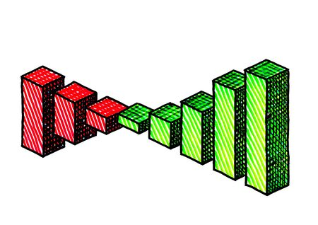 Freehand isometric pen drawing of bar chart depicting positive growth from red losses to green profit. Finance metaphor for investment, financial success, marketing strategy, development, planning.