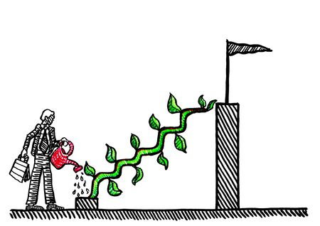 Freehand pen drawing of business manager watering creeper plant to grow stairs to top of bar chart. Economic metaphor for nurturing investment, entrepreneurship, career, ladder of success, growth.