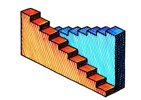 Freehand drawing of two three dimensional bar charts. The orange graph is descending, the blue chart ascending. Business metaphor for growth and decline, boom and recession. Nobody. No people. Banco de Imagens
