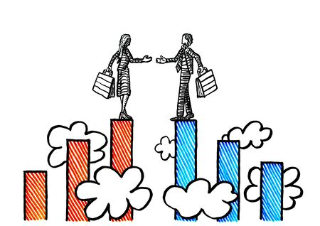Freehand pen drawing of business woman and businessman at peak of two opposing bar charts reaching out for a handshake above clouds. Metaphor for partnership, deal, agreement, merger, contract.