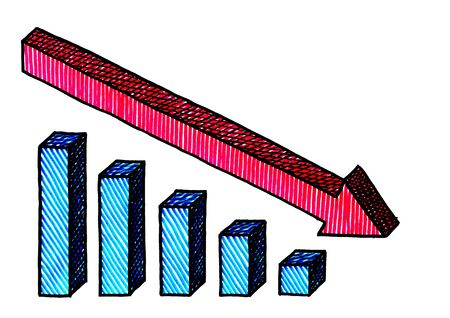 Freehand isometric pen drawing of red arrow showing the declining trend of a blue bar chart. Business metaphor for declining cost of investment, risk reduction, recession, downward turn, bankruptcy.