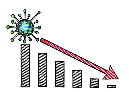 Freehand ink pen drawing of one Corona virus cell with spike proteins atop a bar chart with a negative growth trending arrow. Metaphor for stock market crisis or reduction of coronavirus infections.