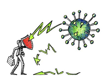 Freehand drawing of businessman defending himself and his portfolio with a shield against attacks of a corona virus cell. Business metaphor for determination, courage, entrepreneurship, preparedness. Banco de Imagens