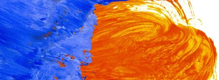 Hand painted color background in blue and orange hues of acrylic paints. Light brush work, watery wash, in cadmium orange juxtaposed with opaque application of ultramarine blue cooled with white.