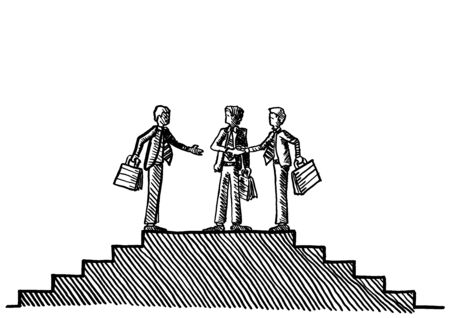 Freehand ink pen drawing of two businessman shaking hands, while a third executive is reaching out. Business metaphor for agreement, partnership, teamwork, deal, negotiation, settlement, mediation.