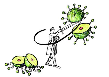 Freehand drawing of medical doctor breaking a huge coronavirus cell hovering in midair in two with a sweeping blow of a sword. Healthcare and medicine metaphor for battle against COVID-19 infection.