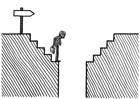 Freehand drawing of business man standing at the verge of an abyss after some steps, while following the direction of a sign post. Metaphor for challenge, facing adversity, the way forward, problem. Banco de Imagens