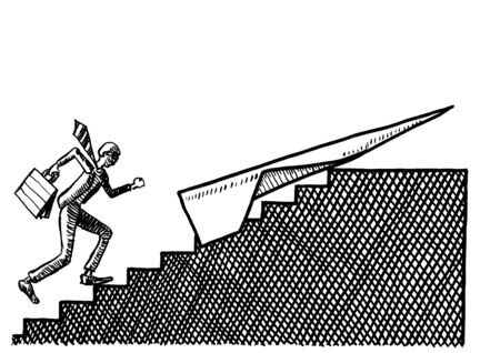 Freehand drawing of business man running up stairs to a paper airplane waiting to take him beyond the staircase. Metaphor for success, takeoff, startup, entrepreneurship, winning, courage, progress.