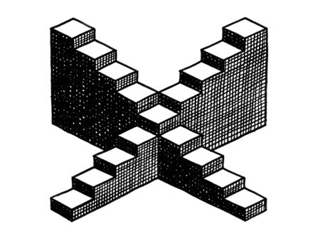 Freehand isometric drawing of two empty staircases of nine steps crossing in the middle at the fifth step. Background and business metaphor for career path, technical construction, platonic solid. Banco de Imagens