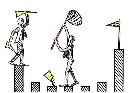 Freehand ink pen drawing of one businessman throwing paper airplanes towards the goal post, while a manager is intercepting with a dip net. Business metaphor for career rivalry, interference, task. Banco de Imagens