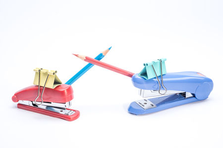 office stapler: Funny stationery creative composition
