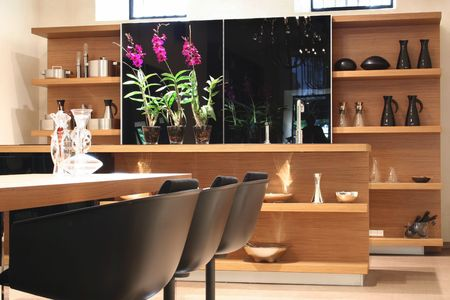 electrolier: Modern kitchen with flower and table