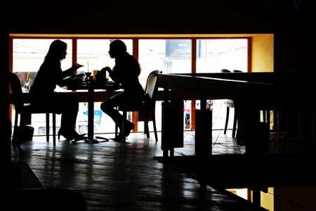 レストランでの会話 写真素材