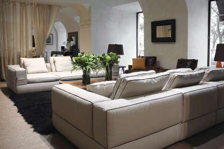 Witte sofa in interieur met bloem