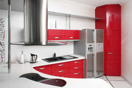Interior red kitchen with metal photo