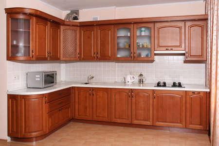 Interior great brown wood kitchen Stock Photo - 580373