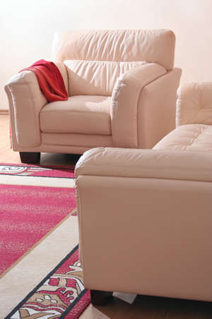 Cream leather furniture detail in exhibition room inter Stock Photo - 612558